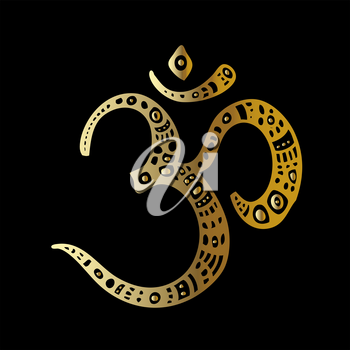 Ohm. Om Aum Symbol. Vector hand drawn illustration