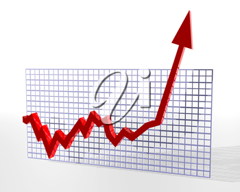 Royalty Free Clipart Image of an Arrow Graph