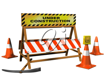 Royalty Free Clipart Image of a Construction Barricade