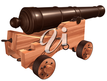 Royalty Free Clipart Image of a Cannon on a Wooden Holder with Wheels