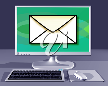 Royalty Free Clipart Image of a Computer with an Envelope on the Screen