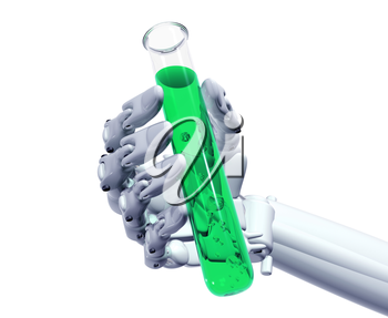 Royalty Free Clipart Image of a Robot Hand Hanging onto a Test Tube
