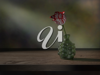 Still life of a red and white tulip in an antique bottle
