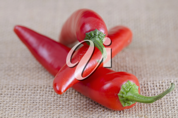 Group of three red chili peppers on a hessian background