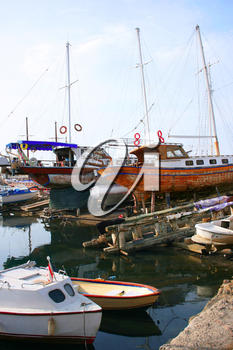 Royalty Free Photo of Boats in the Kyrenia Old Port in Northern Cyprus