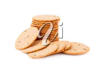Stack of round cookies isolated on white background.