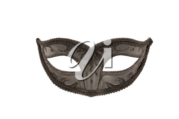 Black carnival mask with ornament isolated on a white background.