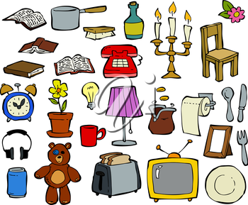 Royalty Free Clipart Image of a Collection of Household Items