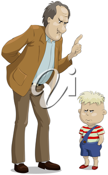 Royalty Free Clipart Image of a Father Scholding His Son