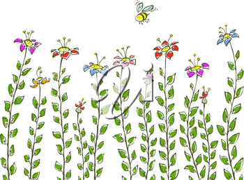 Royalty Free Clipart Image of a Bee and Flowers