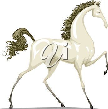 Royalty Free Clipart Image of a White Horse