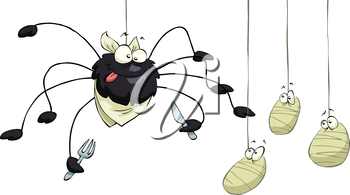 Royalty Free Clipart Image of a Spider Having a Meal