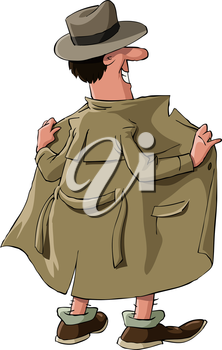 Royalty Free Clipart Image of a Man Flashing