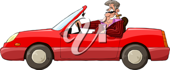 Royalty Free Clipart Image of a Man in a Red Car