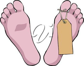 Feet with a tag on a white background vector