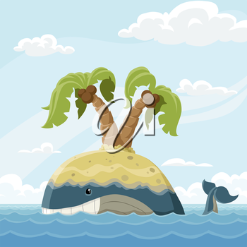 Whale with island on a back vector illustration