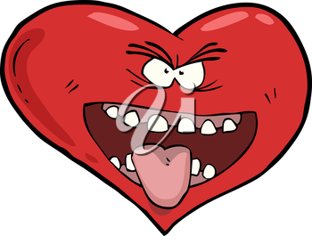 Heart with an open mouth vector illustration