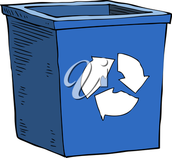 Cartoon blue recycle garbage can vector illustration