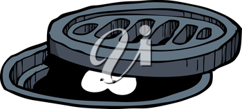 Looks out from a manhole vector illustration