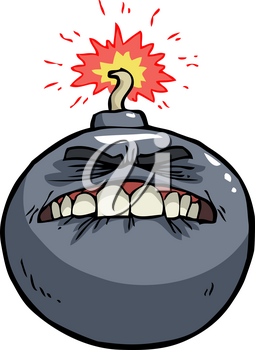 Doodle bomb before the explosion on a white background vector illustration