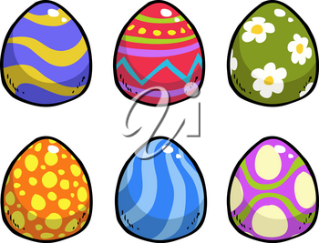 Doodle easter eggs on a white background vector illustration