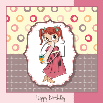Royalty Free Clipart Image of a Little Girl With a Present on a Birthday Greeting