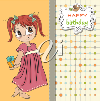 Royalty Free Clipart Image of a Little Girl Holding a Present on a Birthday Message