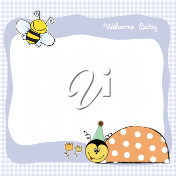 Royalty Free Clipart Image of a Birthday Announcement With a Ladybug and Bee