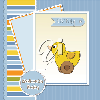Royalty Free Clipart Image of a Welcome Baby Card With a Toy Duck