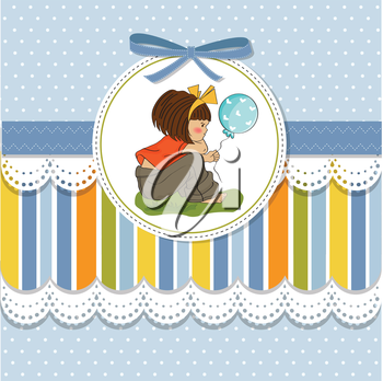 Royalty Free Clipart Image of a Little Girl on a Blue Spotted Background With Lace and Stripes