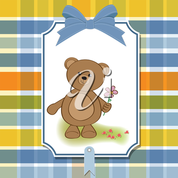 Royalty Free Clipart Image of a Card With a Bear Holding a Flower