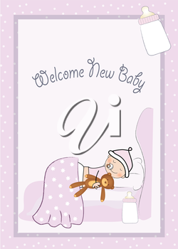 Royalty Free Clipart Image of a Baby Girl Announcement