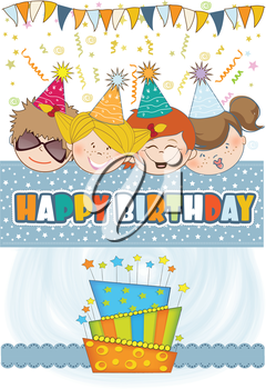 Royalty Free Clipart Image of Children Celebrating a Birthday