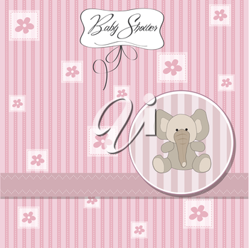 Royalty Free Clipart Image of a Baby Shower Invitation With an Elephant