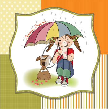 Royalty Free Clipart Image of a Girl and a Pup Under an Umbrella
