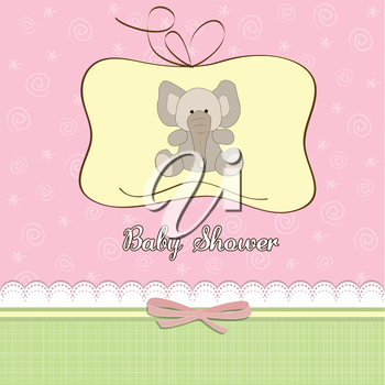 Royalty Free Clipart Image of a Baby Shower Card With an Elephant