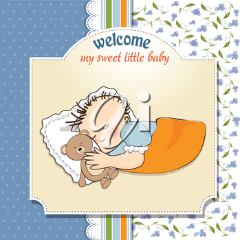 Royalty Free Clipart Image of a Baby Boy Welcome Card