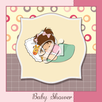 Royalty Free Clipart Image of a Baby Girl Shower Card