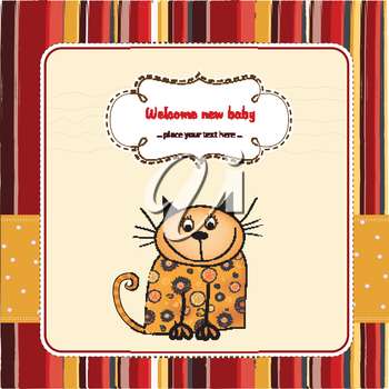 Royalty Free Clipart Image of a Cat on a Birth Announcement