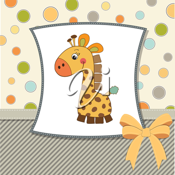 Royalty Free Clipart Image of a Background With a Baby Giraffe