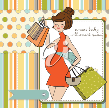baby announcement card with beautiful pregnant woman on shopping