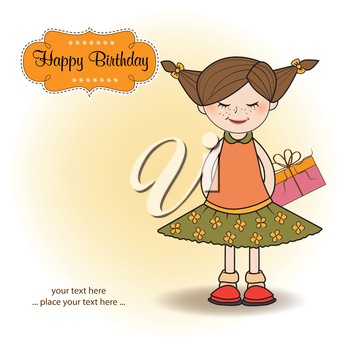 excited young girl she hide a special gift, vector illustration