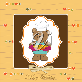 teddy bear with pie. birthday greeting card