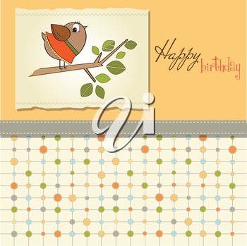 birthday greeting card with funny little bird, vector illustration