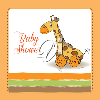 Baby shower card with cute giraffe toy