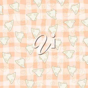 childish seamless pattern with baby dresses, vector illustration