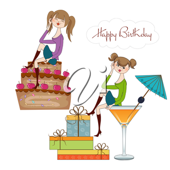 two party girl set isolated on white background, vector illustration