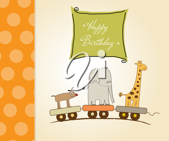 Royalty Free Clipart Image of a Birthday Card With an Animal Train
