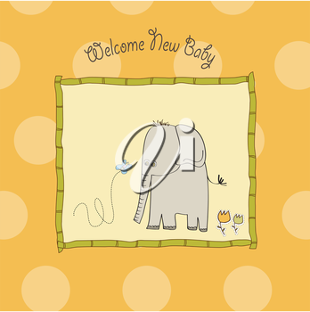 Royalty Free Clipart Image of an Elephant and Butterfly on a Baby Announcement