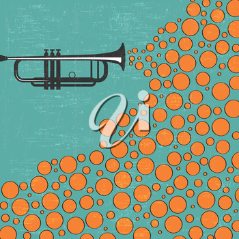 Music background with trumpet and balls, vector illustration